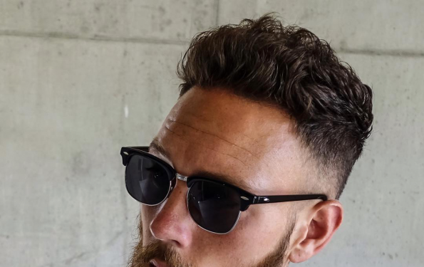 Billy Huxley wearing Mango Man eyewear